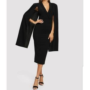 SHEIN Shawl Neck Cape Sleeve Pencil Dress